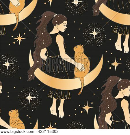 Celestial Woman With Moon And Cat Esoteric Golden Seamless Pattern. Boho Astronomy Astrology Lunar M