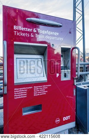 Copenhagen, Denmark - Oct 21, 2018: Automatic Ticket Vending Machine At A Local Railway Station. For