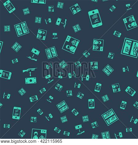 Set Advertising Weapon, Shop Mobile App, Buying Assault Rifle And Hunting Shop On Seamless Pattern.