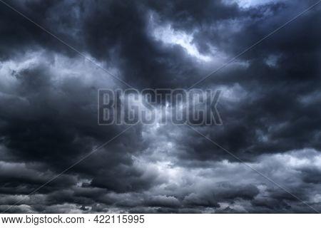 Dramatic Dark Clouds Before Thunder Storm And Rain