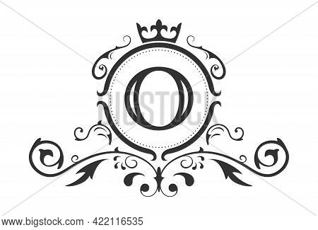 Stylized Letter O Of The Latin Alphabet. Monogram Template With Ornament And Crown For Design Of Ial
