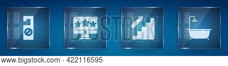 Set Please Do Not Disturb, Five Stars Rating Review, Stairs Up And Bathtub With Shower. Square Glass
