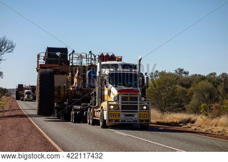 Western Australia - July 10, 2019: Kenworth Heavy Truck Transporting Extremely Heavy Oversize Load O