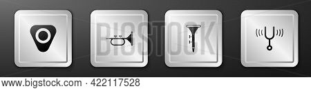 Set Guitar Pick, Trumpet, Drum And Drum Sticks And Musical Tuning Fork Icon. Silver Square Button. V