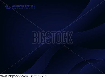 Abstract Luxury Blue Wavy Style Of Silk Pattern Style Template. Decorate For Poster Design Backgroun