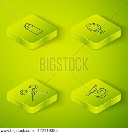 Set Isometric Line Meat Tongs, Bbq Skewers, Steak Meat And Knife And Lighter Icon. Vector