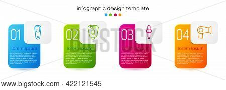 Set Line Pumice For Feet, Epilator, Pipette And Hair Dryer. Business Infographic Template. Vector