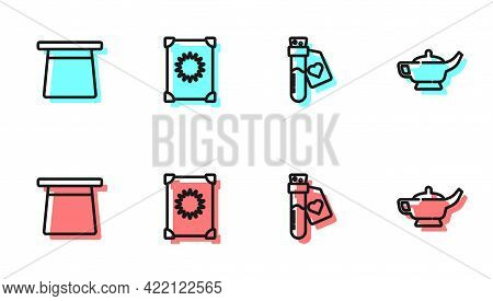 Set Line Bottle With Love Potion, Magic Hat, Ancient Magic Book And Lamp Or Aladdin Icon. Vector