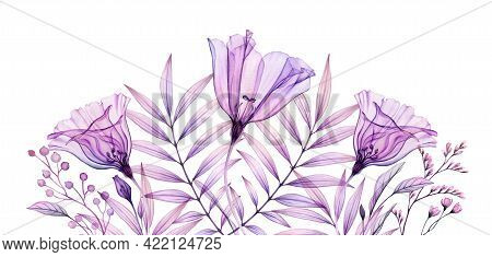 Watercolor Floral Banner In Purple. Horizontal Border. Hand Painted Artwork With Transparent Violet