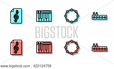 Set Line Tambourine, Treble Clef, Music Synthesizer And Sound Mixer Controller Icon. Vector