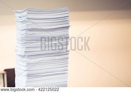 Pile Of Papers, Close-up Heap Overwork Paper Documents Or Reuse Printout On Office Desk Stacked Conc