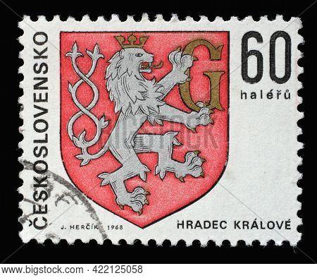 ZAGREB, CROATIA - SEPTEMBER 18, 2014: Stamp printed in Czechoslovakia shows coat of arms of Hradec Kralove, circa 1968