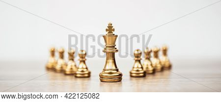King Chess Standing Teamwork On Chess Board Concepts Of Business Team And Leadership Strategy And Or