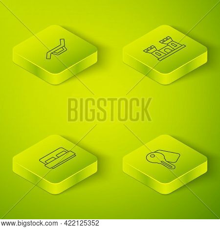 Set Isometric Line Sand Castle, Hotel Room Bed, Door Lock Key And Sunbed Umbrella Icon. Vector