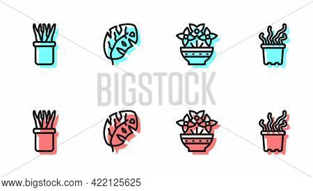 Set Line Flower In Vase, Plant Pot, Tropical Leaves And Exotic Tropical Plant Icon. Vector