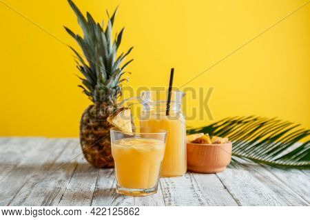 Tasty Pineapple Juice In Glass With Ingredients. Fresh Natural Pineapple Juice Cocktail And Pineappl