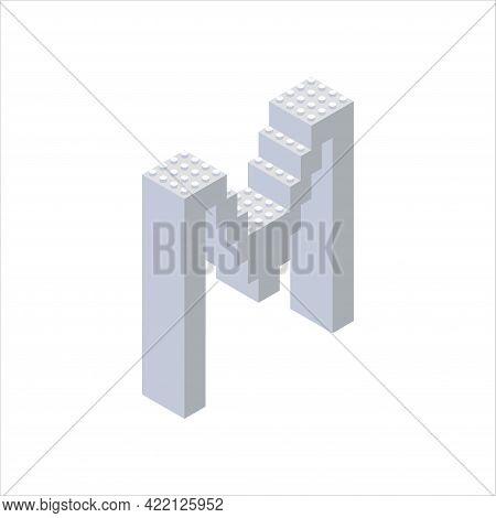 Isometric Font Made From Color Plastic Blocks. The Children S Designer. Letter M. Vector Illustratio