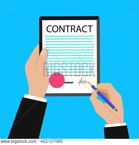 Businessman Signing Contract. Sign Contract Vector Concept. Privacy Policy And Terms And Conditions.