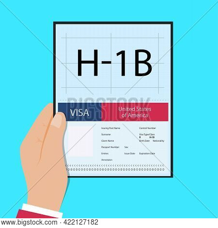 Hand Hold Passport With Visa H1b Temporary Work For Workers Illustration. H1b Visa Usa Page For The