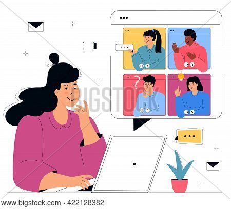 The Girl Makes A Conference Video Call. Remote Teamwork. Colleagues Talk To Each Other On The Comput