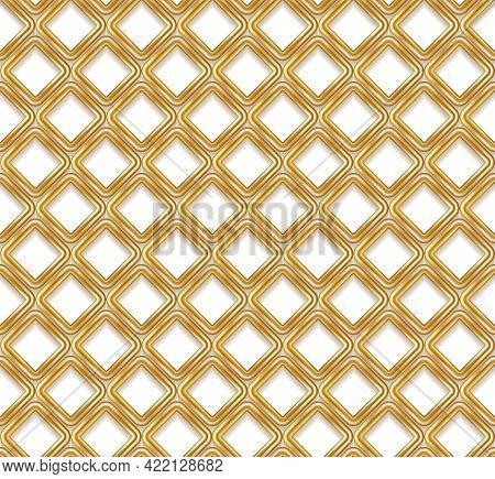 Abstract Golden Rhombus Geometric Seamless Pattern. Vector Illustration. 3d Golden Glitter Grid Latt