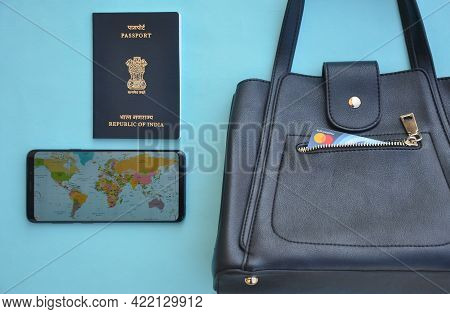 Mandi, Himachal Pradesh, India - 04 24 2021: Concept Of International Traveling  For A Woman