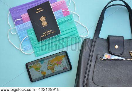 Mandi, Himachal Pradesh, India - 04 24 2021: Overhead View Of Essential Items For International Trav