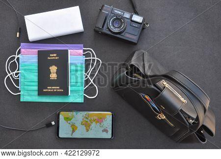 Mandi, Himachal Pradesh, India - 04 24 2021: High Angle View Of Essential Items For International Tr