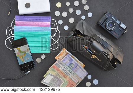 Mandi, Himachal Pradesh, India - 04 24 2021: Top Angle View Of Essential Things For Travel In India