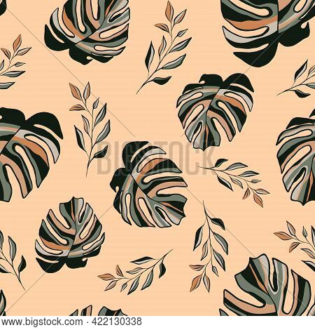 Contemporary Tropical Seamless Pattern. Abstract Terracotta, Green Pastel Hand Drawn Palm, Monstera