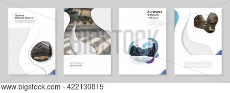 A4 Brochure Layout Of Covers Design Templates With Fluid Colorful Trendy Blue Gradients Geometric Sh