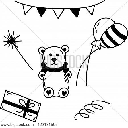Doodle Set Of Elements For Birthday Party. Hand-drawn Vector Illustration With Teddy Bear, Balloons,