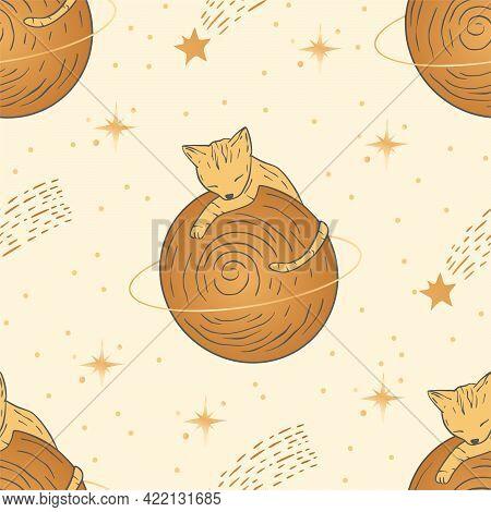 Celestial Cat Animal Saturn Space Planet Seamless Pattern Design. Vector Astrology Boho Esoteric Gol