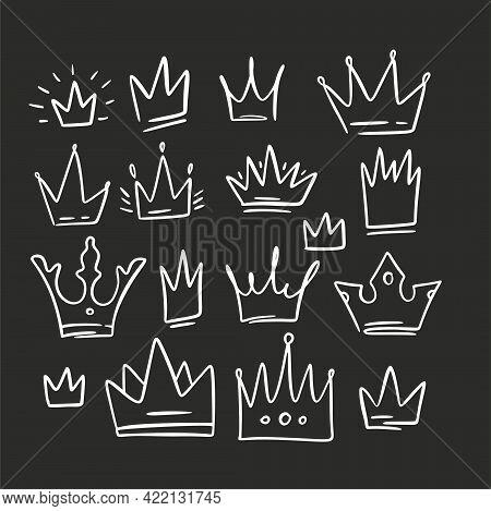 Doodle Crown Queen Sketch Set. King Icon Illustration Design. Vector Princess Graphic.