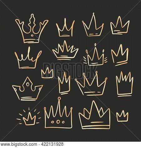 Doodle Crown Golden Gradient Queen Sketch Set. King Icon Illustration Design. Vector Princess Graphi