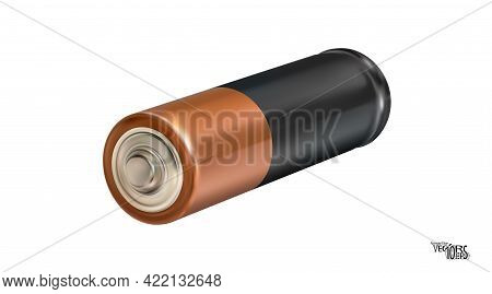 3d Isometric Realistic Battery Icon Isolated On White Background. Alkaline Type Aa. Blank Object, Mo