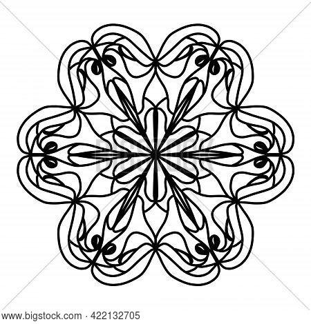 Simple Mandala Shape For Color Painting. Outline Flower Mandala On White Background