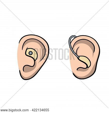 Hearing Aid. Audiphone In Ear. Hearing Problems And Disabilities. Set Of Cartoon Illustration