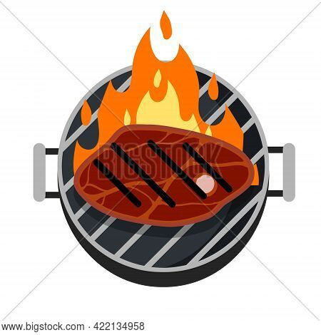 Grilled Meat On Grill With Fire. Steak And Barbecue Of A Strong Roast. Piece Of Food Cuts. Flat Cart