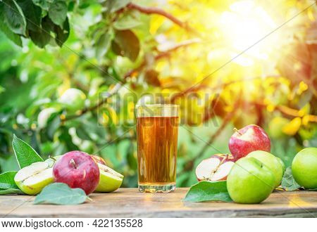 Fresh apple juice and organic apples on wooden table.  Summer orchard in the evening sun rays at the background.