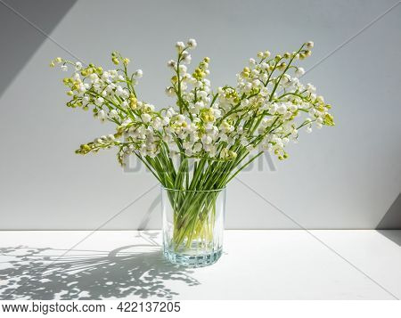 Bouquet Of Lily Of The Valley In The Glass Isolated On White Background In Bright Sunlight. Delicate