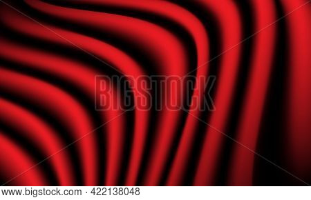 Abstract Red Fabric Wave Curve Background Luxury Vector Illustration.