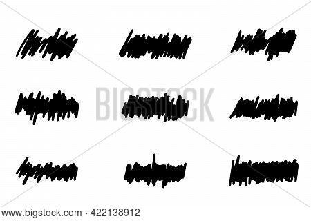 Set Of Black Color Handdrawing Scribble Line On White Background