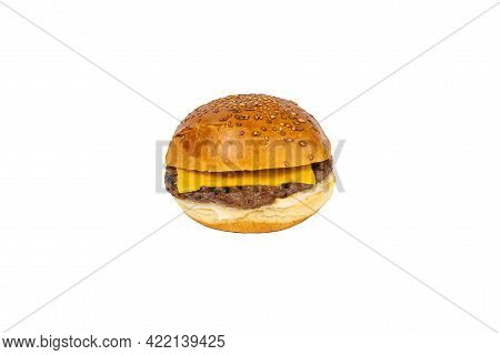 Cheeseburger Isolated On A White Background Fastfood Burger
