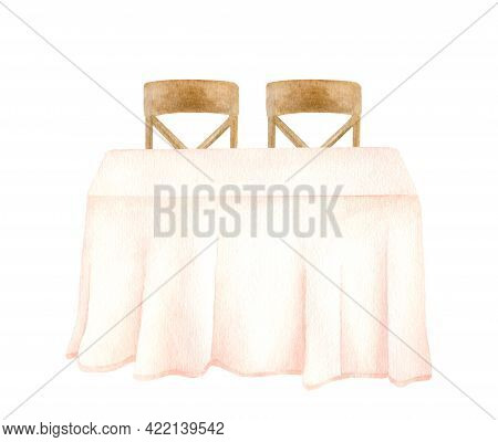 Watercolor Clothed Table With Wood Chairs. Hand Drawn Simple Wedding Table For Newlyweds With Elegan