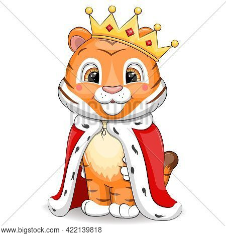 Cute Cartoon Tiger King With Crown And Royal Robe. Vector Animal Illustration Isolated On White.