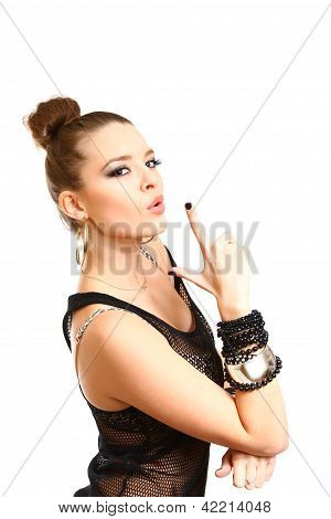 Sexy Young Woman Making A Gun Gesture Isolated On White Backgrou