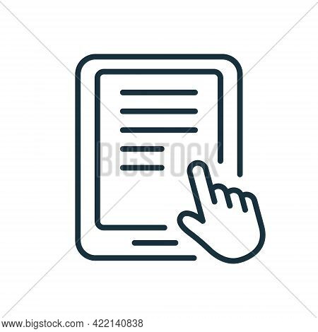 Ebook Line Icon With Mouse Pointer. Electronic Book Device For Education And Learning. E-book Reader