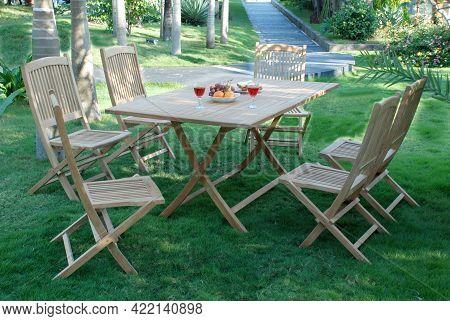Teak Garden Outdoor Furniture, Set Of Outdoor Furniture For Garden And Indoor. Teak Furniture Set
