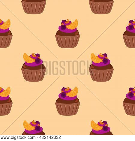Cupcakes Seamless Pattern. Packaging. Festive Cupcakes With Cream, Fruits And Berries. Vector Patter
